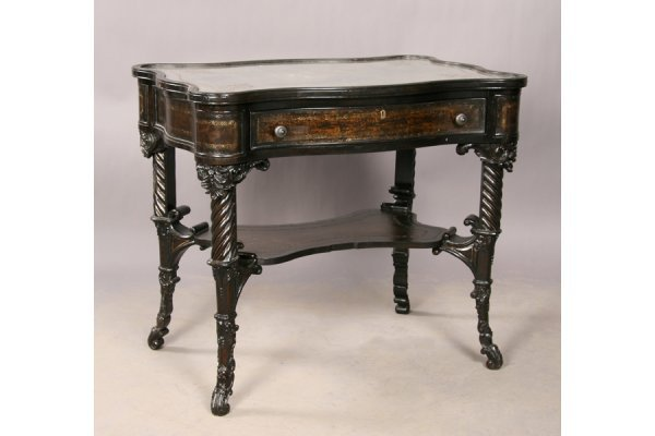 17: Ebonized leather decorated mirror top side table