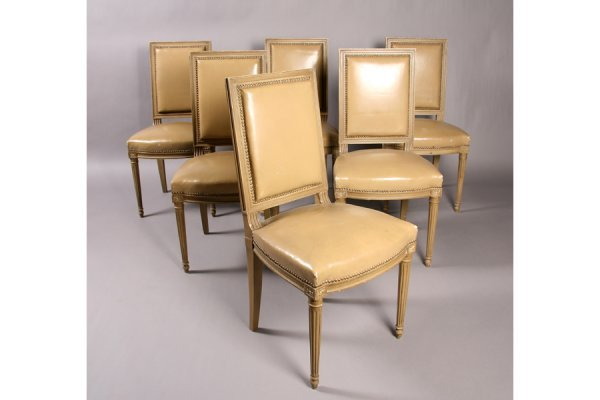 19: Set 6 French Louis XVI dining chairs upholstered