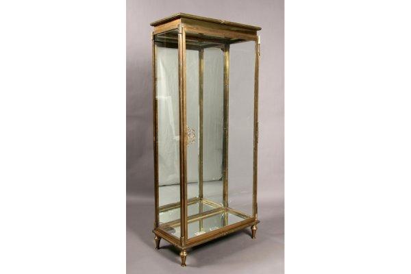 21: Antique bronze  glass front vitrine china showcase