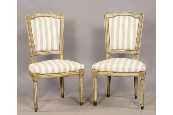22: Pair carved wood painted Louis XVI side chairs