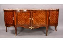 80 French L XVI sideboard server marble top parquetry