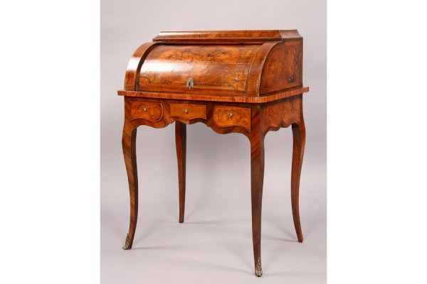 94: Antique French marquetry cylinder writing desk