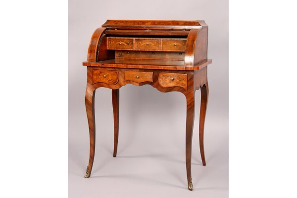 94: Antique French marquetry cylinder writing desk - 3