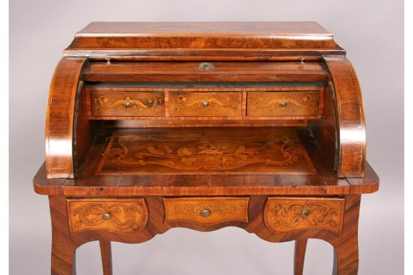 94: Antique French marquetry cylinder writing desk - 4
