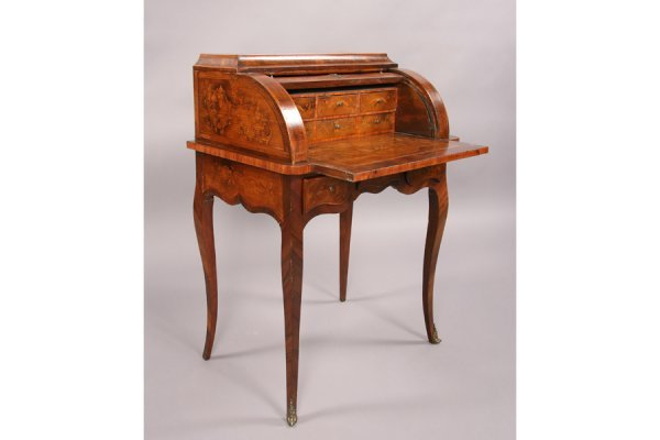 94: Antique French marquetry cylinder writing desk - 5