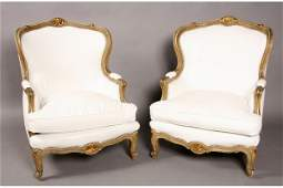 100 Pr French Louis XV painted carved bergere chairs