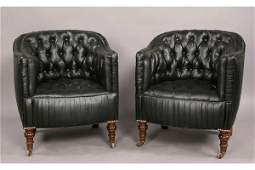 186: Antique pair English upholstered club chairs