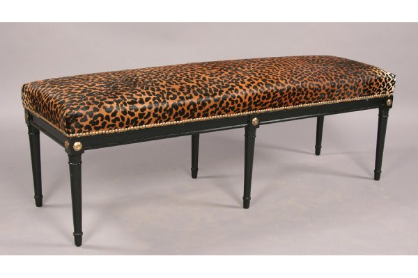 Jansen style ebonized directoire  bench  faux leopard