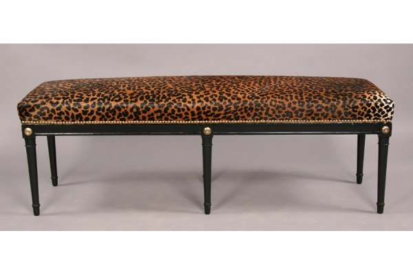 Jansen style ebonized directoire  bench  faux leopard - 2