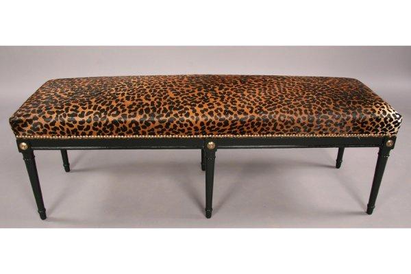 Jansen style ebonized directoire  bench  faux leopard - 3