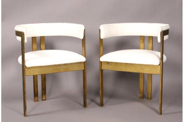 286: Modern pair bronze U-back arm chair 1960