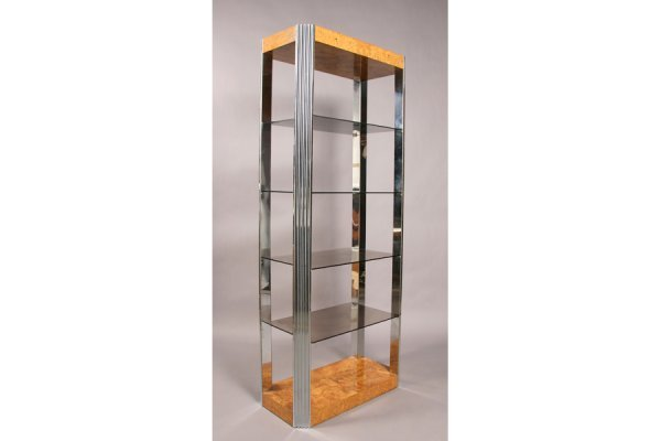 488: Modern Pace chrome burled wood etagere