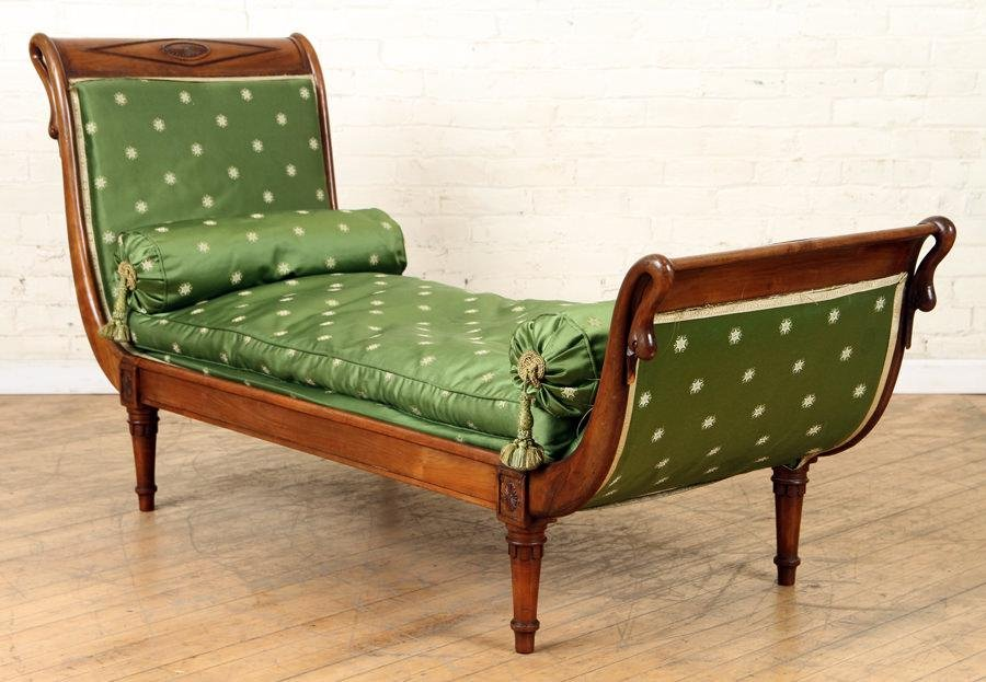 LATE 19TH C. FRENCH EMPIRE STYLE MAHOGANY CHAISE