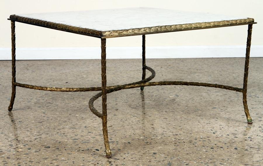 CAST BRONZE MARBLE TOP COFFEE TABLE BY BAGUES