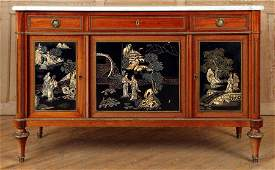 FRENCH MAHOGANY CHINOISERIE MARBLE TOP COMMODE