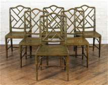 SET 6 FAUX BAMBOO DINING CHAIRS CIRCA 1950