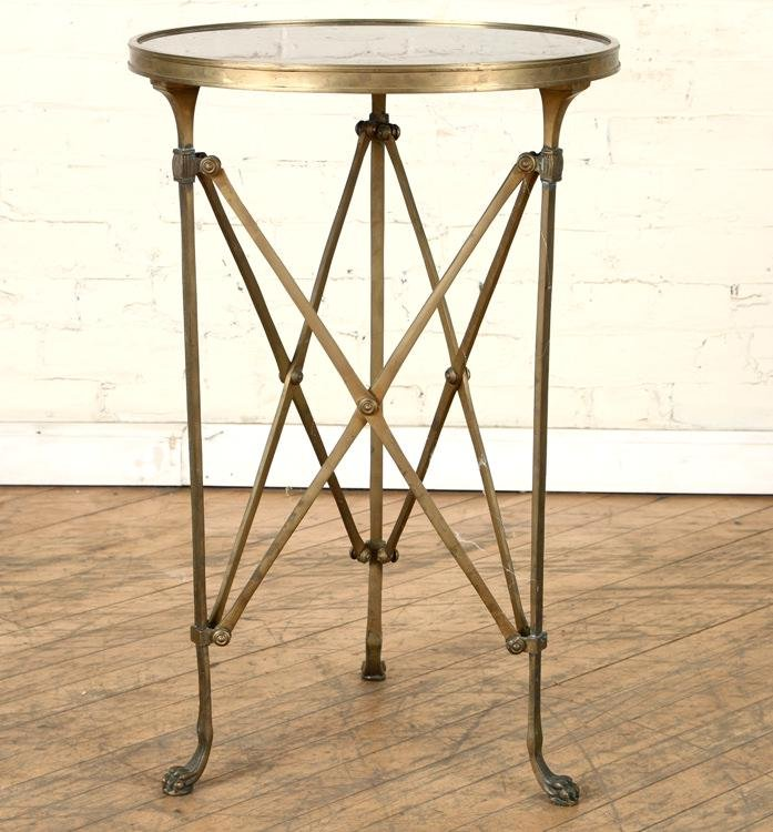 BLACK MARBLE TOP BRONZE CAMPAIGN STYLE GUERIDON
