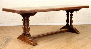 RUSTIC FRENCH ELM REFECTORY TABLE TURNED SUPPORTS
