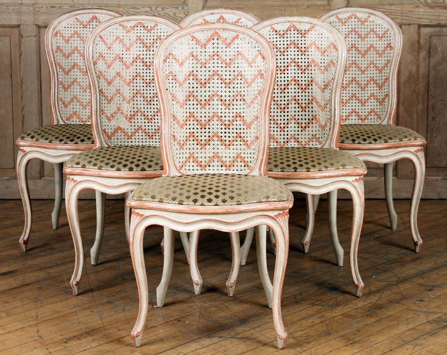 SET 6 FRENCH LOUIS XV STYLE DINING CHAIRS C.1940