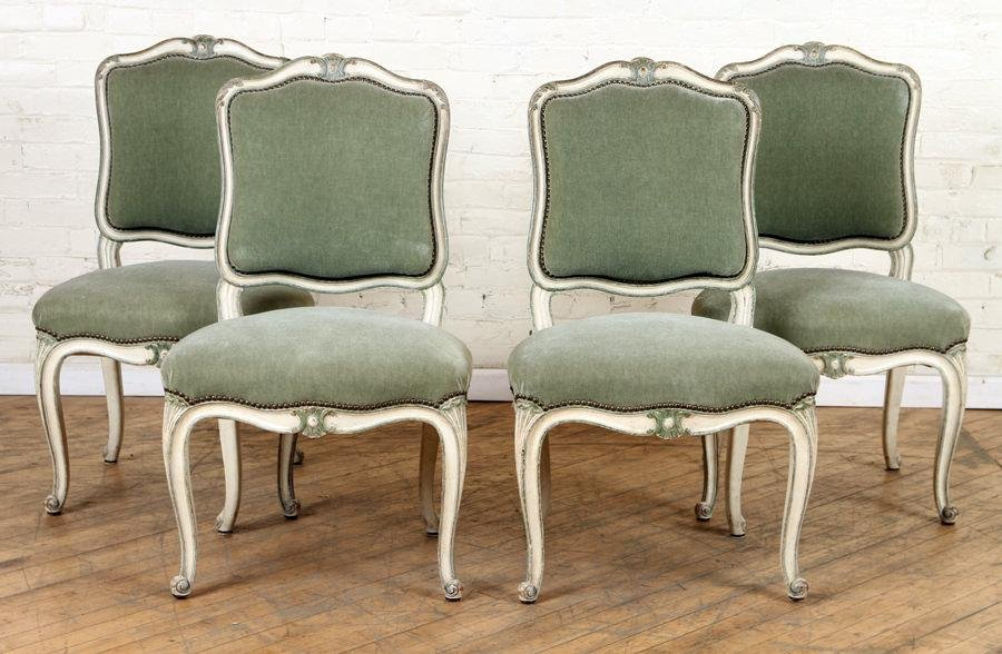 SET 4 LARGE FRENCH UPHOLSTERED SIDE CHAIRS C.1940