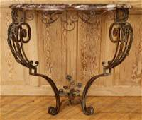 FRENCH WROUGHT IRON MARBLE TOP CONSOLE C.1920