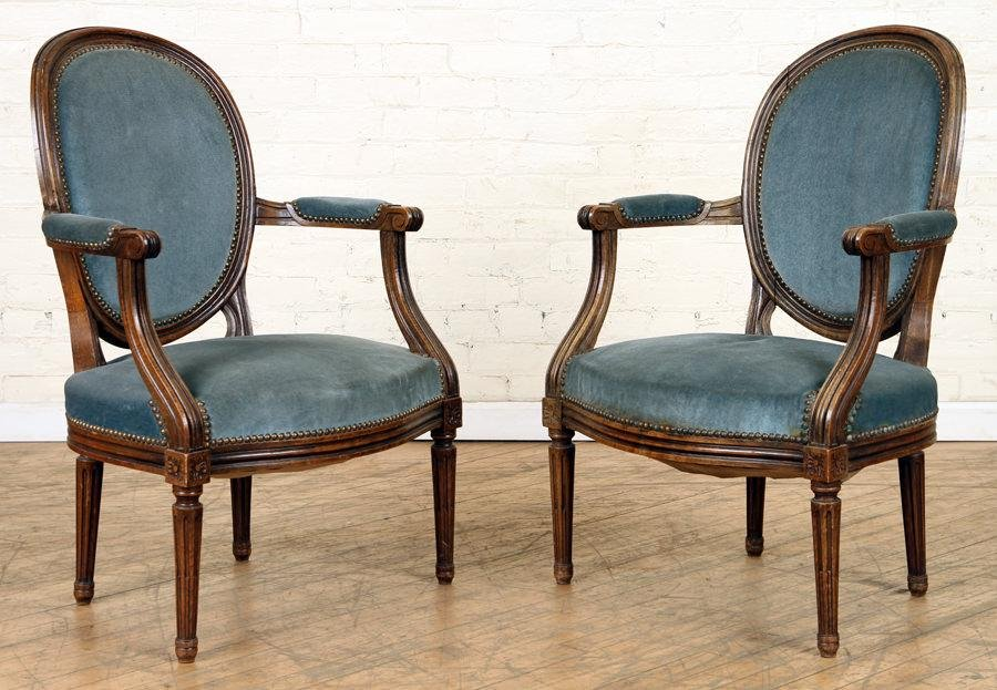 PAIR FRENCH LOUIS XVI STYLE OPEN ARM CHAIRS C1940