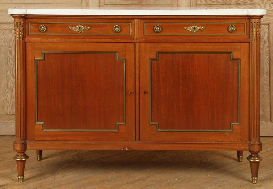 FRENCH MAHOGANY MARBLE TOP SERVER CIRCA 1950