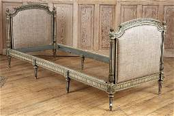 PAINTED CARVED 8 LEG UPHOLSTERED DAY BED C1940