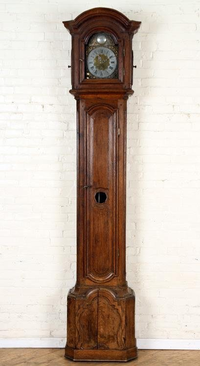 FRENCH TALL CASE CLOCK OAK ORNATE TWO TONE DIAL