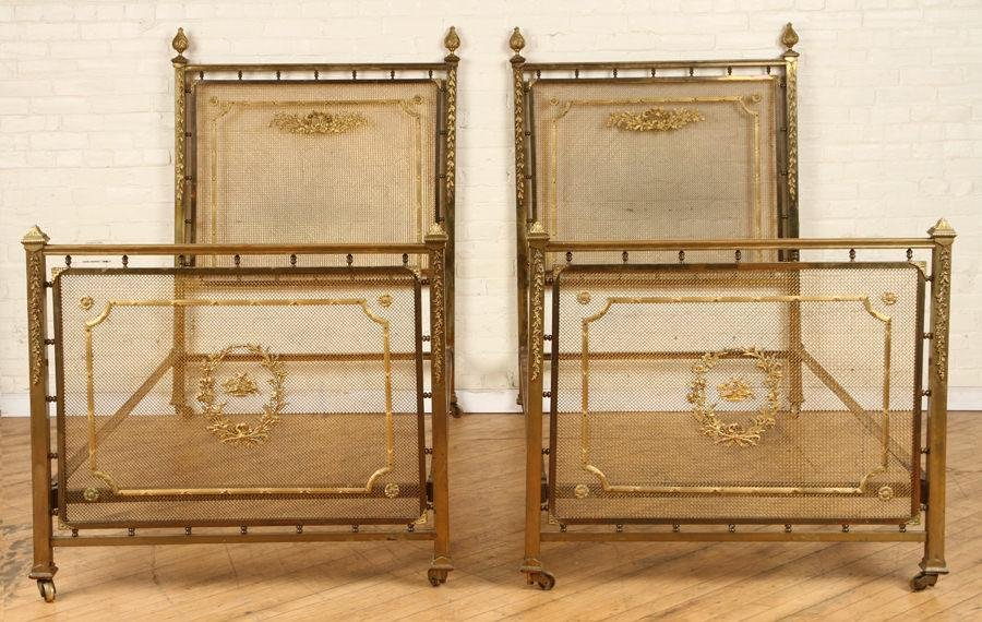 PAIR LOUIS XV STYLE FRENCH BRONZE BEDS C.1900