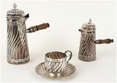 SET EUROPEAN SILVER COFFEE/TEA POTS CUP & SAUCER
