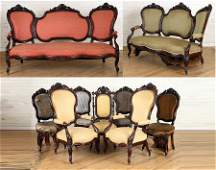 AMERICAN VICTORIAN ROSEWOOD 9PC. PARLOUR SET 1870