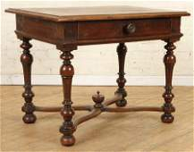 18TH CENT. OAK TABLE X-FORM STRETCHER ONE DRAWER