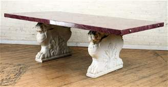 LARGE DINING TABLE FAUX MARBLE TOP CARVED LIONS