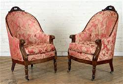 PAIR 19TH C. CARVED ROSEWOOD LIBRARY CHAIRS