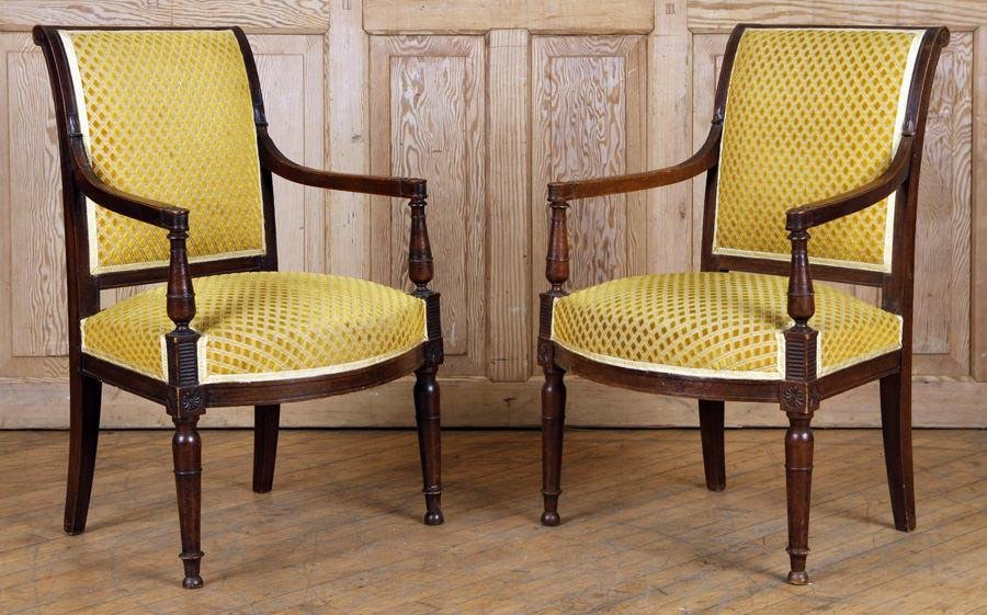 PAIR CARVED WALNUT FRENCH OPEN ARM CHAIRS C.1910