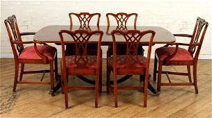 CHIPPENDALE STYLE MAHOGANY DINING SUITE C.1950