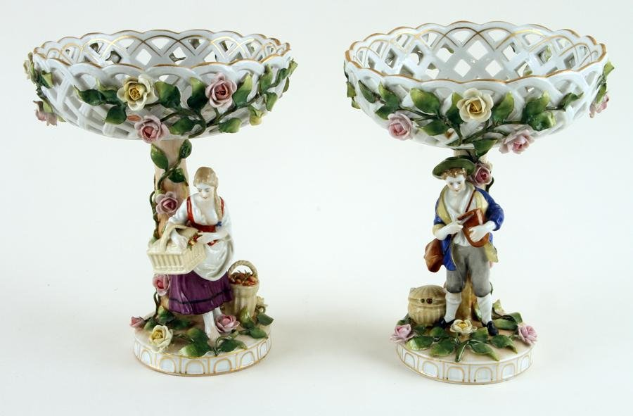 PAIR OF MARKED DRESDEN PORCELAIN FIGURAL COMPOTES