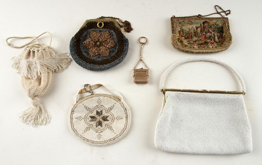 5 BEADED & PETIT POINT NEEDLEWORK PURSES
