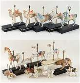 COLLECTION 15 HAND PAINTED CYBIS CAROUSEL ANIMALS