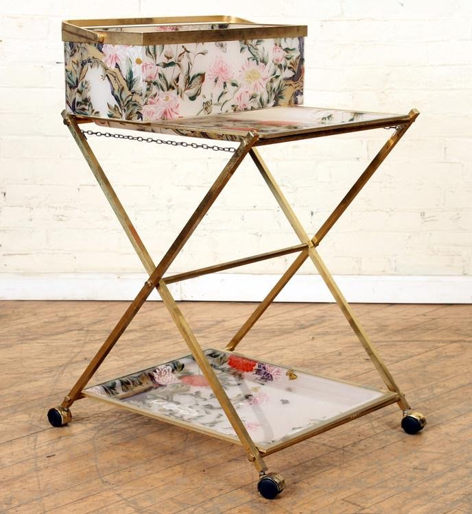 BRASS FLORAL DECORATED ACRYLIC CART C.1950