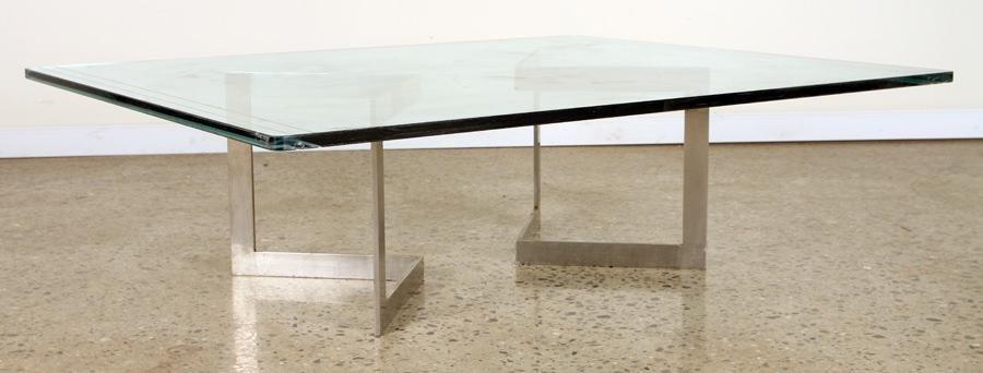 MID CENTURY MODERN POLISHED STEEL COFFEE TABLE