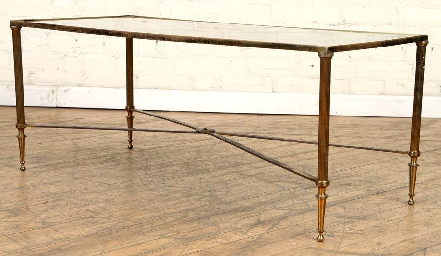 MID CENTURY MODERN BRONZE COFFEE TABLE MIRRORED