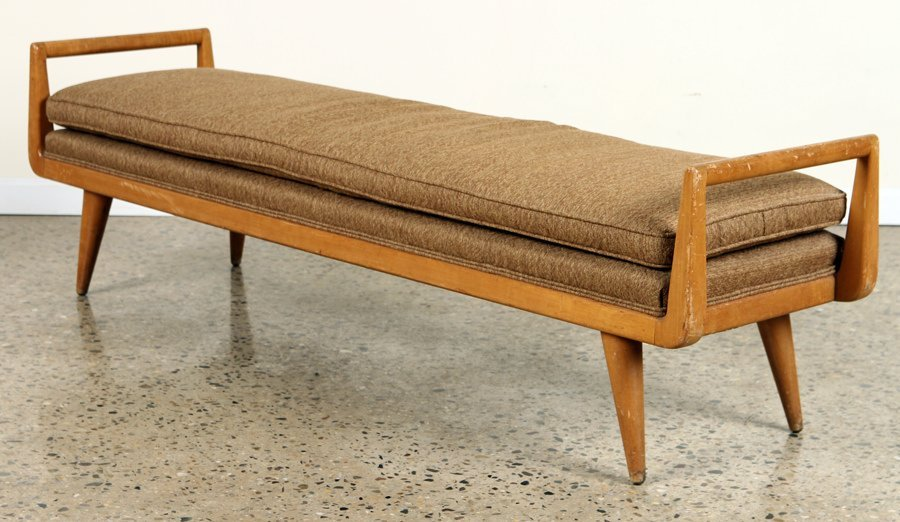 MID CENTURY MODERN UPHOLSTERED BENCH OPEN ARMS