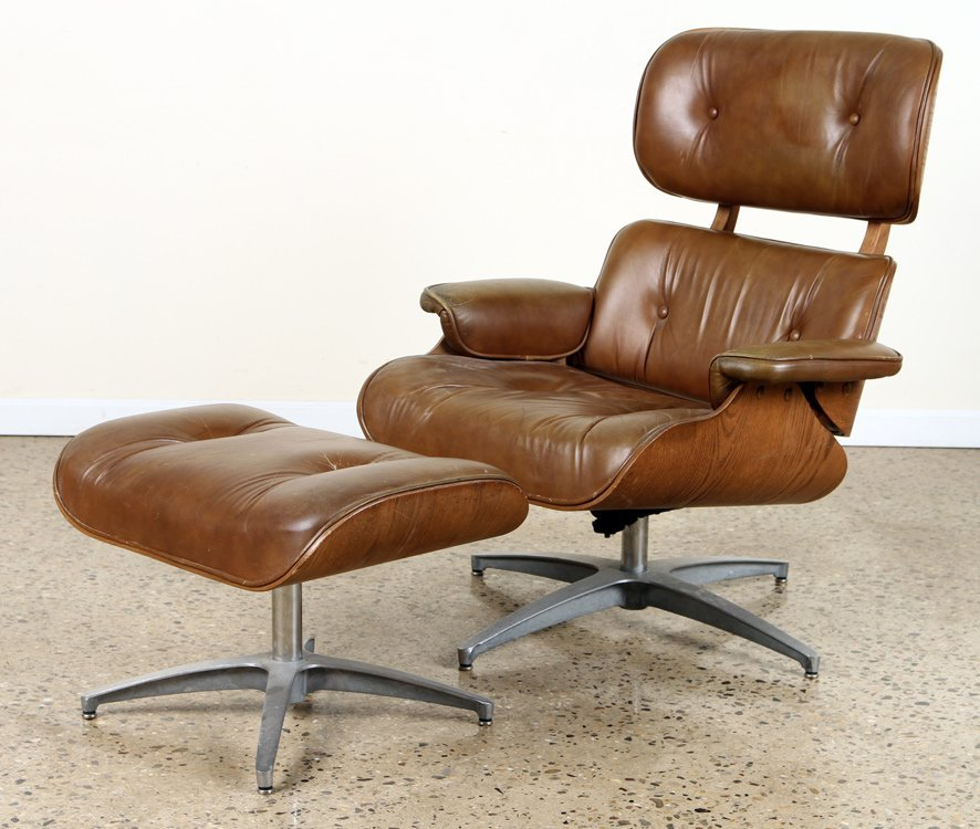 EAMES STYLE BENTWOOD LOUNGE CHAIR & OTTOMAN