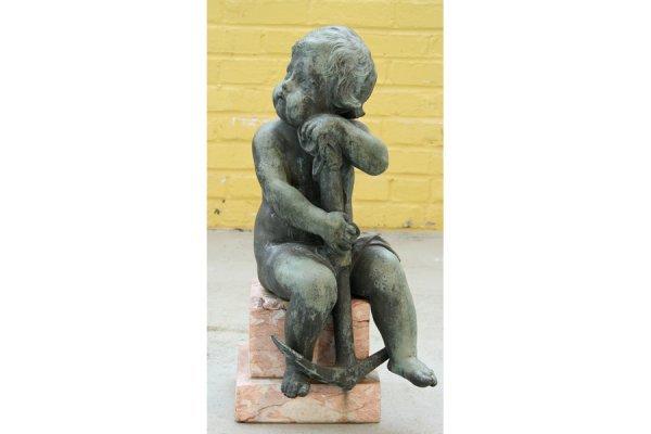 3: Antique garden bronze putto marble anchor
