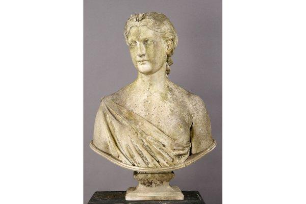 5: antique garden marble bust Diana