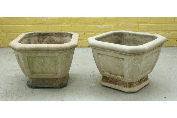 9: pair stamped Galloway terracotta garden urns