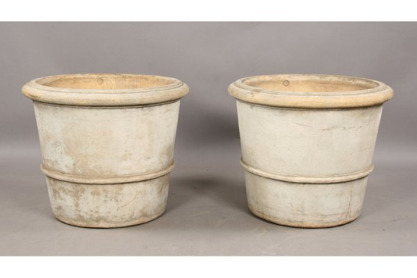 12: Monumental pair of stamped Galloway pots