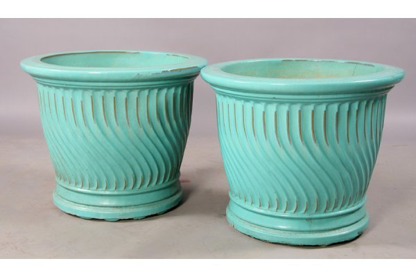 14: rare pair Galloway glazed vessels Moorish garden